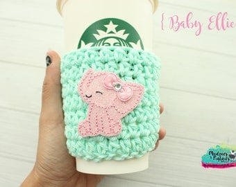Animal Cup Cozy { Baby Ellie } pink elephant, spring, easter, farm crochet coffee sleeve, knit mug sweater, starbucks gift, frappuccino