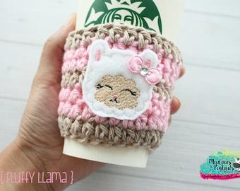 Coffee Cozy Crochet { Fluffy Llama } cute, animal decor, trendy, modern cup sleeve, mug sweater, planner girl