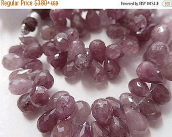 ON  SALE Pink Sapphire Gemstone. Semi Precious Bead. Faceted Sapphire Teardrop Briolette, 8-9mm  Pairs or NonMatch 1 to 10 Brios (1sap)