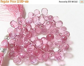 SALE Pink Hydro Quartz Gemstone. Faceted Teardrop Briolettes. 8mm. Pairs or Non Matching 1 to 5 Briolettes (55hq3).