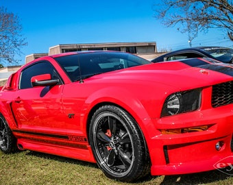 2007 Ford Mustang Red & Black Stripe Car Photography, Automotive, Auto Dealer, Sports Car, Mechanic, Boys Room, Garage, Dealership Art