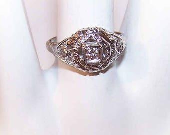 Art Deco,Engagement Ring,18K Gold,White Gold,18K Gold Ring,18K Gold Diamond Ring,.10CT Diamond,Diamond Engagement Ring,Filigree