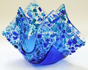 Glassworks Northwest - Votive Blue - Fused Glass Candleholder