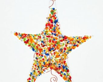 Glassworks Northwest - Rainbow Sprinkle Star  - Fused Glass Suncatcher or Ornament