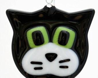 Glassworks Northwest - Black and White Cat - Fused Glass Ornament