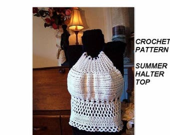 CROCHET PATTERN halter top, shrugs, tank top, num. 466, Summer Halter Top, age 2 to adult, and custom sizes.