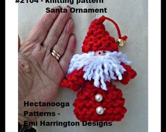 KNITTING PATTERN, Knit Santa Ornament, Christmas ornament, Hanging decoration, tree ornament, #2104K, Hectanooga Patterns