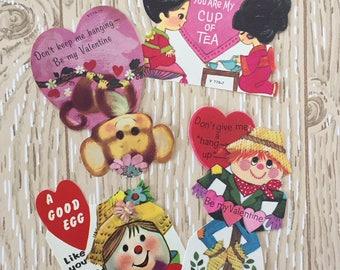 Set of 4 Vintage 1970s Valentine School Cards, Monkey, Egg, Asian, Scarecrow
