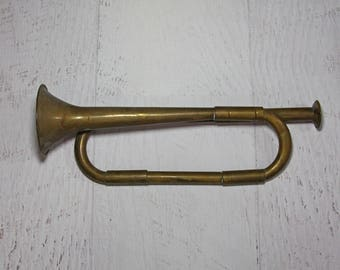 Small BRASS TRUMPET- Made in India Ornament Accent- Decorative Musical Instrument- Music Room- Wreath Horn Hunting Decor
