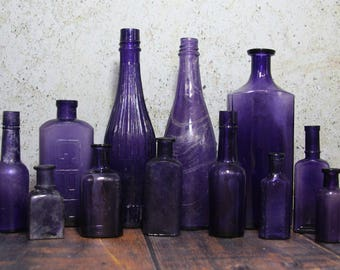 Vintage PURPLE BOTTLE Lot - Amethyst Glass- Antique Bottles - Instant Collection Vintage Bottle Group- Wedding Decor Centerpiece