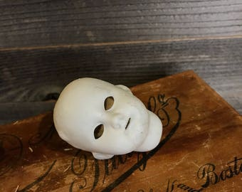 Vintage Bisque German DOLL HEAD- Scary Doll Parts- DEP Doll Germany- Spooky Eyes Vintage Doll- Antique Figure