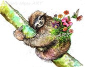 Sloth in tree, Sloth garden, Sloth hanging, sloth wall art, Funny sloth art, Marias Ideas, Marias Ideas Art