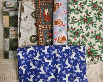 CHRISTMAS FABRICS LOT 6 Holiday Prints V I P Mumm Deer North Pole Wreaths Songs Santas Holly, Nearly 5 yds, Sewing Projects, Quilt Stockings