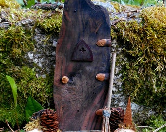 Fairy Door, Miniature Fairy Garden Door, Fairy House door with Porch, one of a kind handmade with natural wood and forest finds