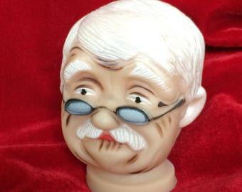 1 Vintage Doll Head for Grandpa Doll Fibre Craft NEW Old Man Vinyl