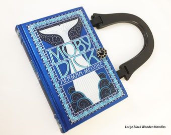 Moby Dick Book Purse - Moby Dick Book Clutch - Herman Melville Book Cover Handbag - Book Reader Gift - Anniversary Gift - Summer Accessory