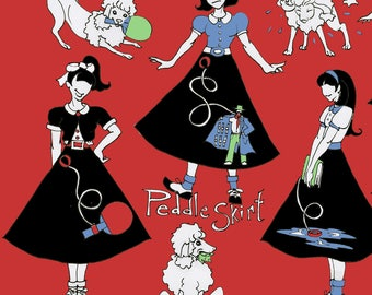 Retro Poodle Skirt Fabric - The Rejects By Ceanirminger - Retro Women Dancers Cotton Fabric By The Yard With Spoonflower