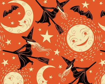 Witches Moon Fabric - Broom Ride By Johannaparkerdesign - Witch Halloween Moon Bat Orange Cotton Fabric By The Yard With Spoonflower