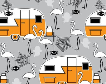 Haunted Trailer Fabric - Halloween Trailers And Flamingos Grey By Lilcubby - Retro Caravan Camper Cotton Fabric By The Yard With Spoonflower