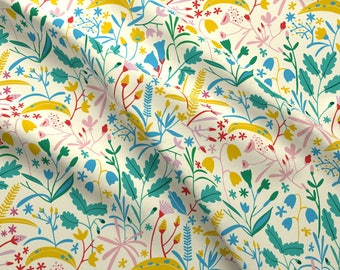 Botanical Fabric - Botanical Bright Colors By Natalia Gonzalez - Spring Floral Green Yellow Pink Cotton Fabric By The Yard With Spoonflower