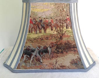 """Hunt Scene Needlepoint Lamp Shade, Rectangle Bell Lampshade with Cream and Blue Ticking Fabric, English Countryside - 7.5""""t x 14""""b x 10.5""""h"""