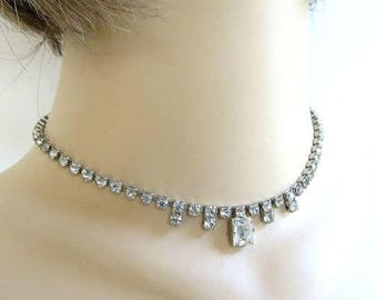 Clear Rhinestone Choker Necklace Vintage Bridal Wedding