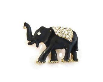 SALE Black Enamel & Rhinestone Elephant Brooch Vintage