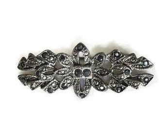 SALE Black Rhinestones Victorian Style Bar Brooch Vintage