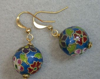 Vintage Chinese Champleve Cloisonné Teal Blue Enamel Bead Earrings Dangle Drop ,Gold French Ear Wires - GIFT WRAPPED