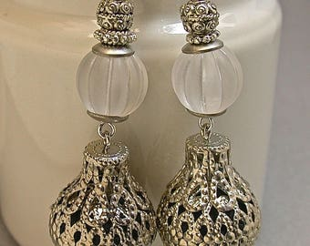 Vintage White Lucite Bead Earrings Dangle Drop,Vintage Filigree Silver Metal Teardrop Bead - GIFT WRAPPED JEWELRY