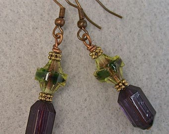 Vintage Furnace Glass Lime Green Purple Faceted Bead Dangle Drop Earrings, Vintage Purple Lucite Beads, Copper Ear wires- FREE GIFT WRAPPING