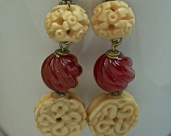 Vintage Chinese Bone Bead Carved Knot Dangle Drop Earrings, Vintage Carved Round Twist Carnelian Beads, Handmade Antiqued Brass Ear Wire
