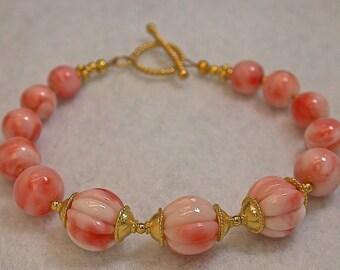 Vintage Pink Angel Skin Coral Carved Bead Bracelet,Handmade Bali 24k Gold Vermeil Beads and Bead Caps, Bali 24K Gold Vermeil Toggle Clasp