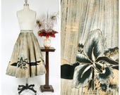 Vintage 1950s Skirt - Gorgeous Handpainted Mexican Skirt with Black and Gold Hibiscus Border Motif