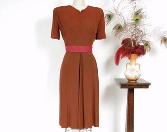 50% CLEARANCE Vintage 1940s Dress - Rich Rust Brown Rayon Crepe 40s Cocktail Dress with Bold Strong Shoulders and Deep Box Pleated Skirt