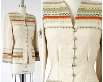 Vintage 1940s Jacket - Striking Tailored Norwegian 40s Casual Jacket with Wonderful Woven Stripes and Strong Shoulders
