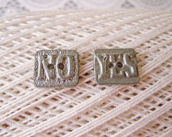 Vintage Metal YES and NO Picture Sewing Buttons