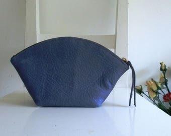 Blue Leather Clutch / Makeup Bag / Purse / Pouch