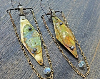 "Ancient, iridescent Roman glass earrings in mint and gold by fancifuldevices- ""Igniparous"""