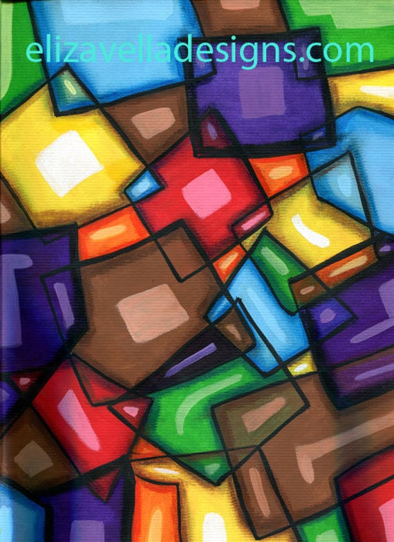 connection cubist cubism abstract original art painting geometric modern colorful artwork