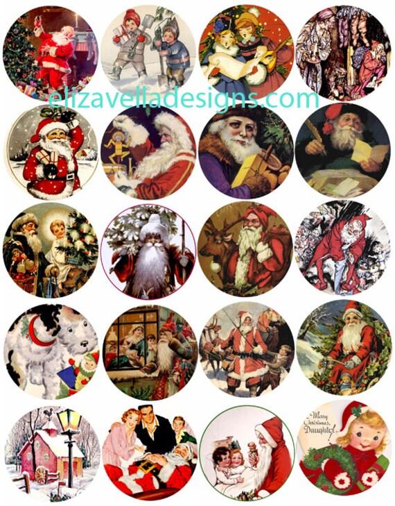 Vintage Santa Christmas art collage sheet digital download graphics images 2 inch circles printable crafts scrapbooking ornaments