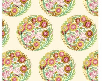 Tula Pink Parisville Topiary Sprout Fat Quarter (FQ), VHTF OOP fabric, destash, rare, flowers, circles, cotton, new, washed, no shrinkage