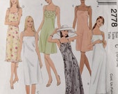 McCall's 2778 Sewing Pattern Semi-Fitted Slip Dress Bust Darts Back Zipper Shoulder Strap Variations Easy UNCUT Factory Folds Sizes 10-12-14