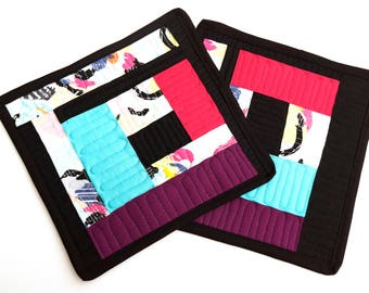 Modern Quilted Pot Holders Set of Two in Colorful Improv Patchwork