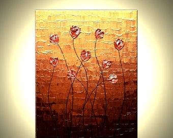 Red Tulips Painting Original Impasto Palette Knife Red Flowers Painting Textured Blossom Art by Lafferty, 16X20 - FREE SHIPPING Sale