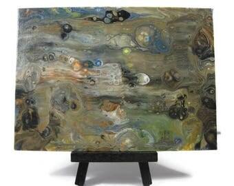 Original 5 x 7 Abstract Art 5x7 Acrylic Pour Art Flat Canvas Panel