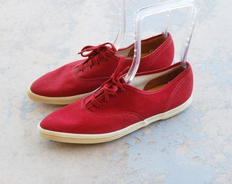 vintage 60s Keds Sneakers - Pointy Toe Keds Red Canvas Sneakers 1960s Tennis Shoes Athletic Shoes Deadstock Sz 8.5 39