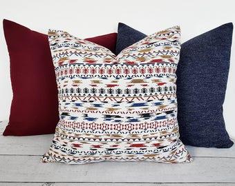 Winter Pillows, Decorative Pillow, 18 inch Pillow, Rustic Pillow, Southwestern Pillow, White Red Blue, Nordic, Zipper, Lumbar, Custom