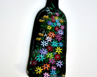 Melted Wine Bottle, Serving Tray, Cheese Tray,  Spoon Rest, Kitchen Trivet,  Green Wine Bottle Hand Painted with Colorful Flowers,
