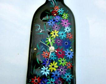 Wine Bottle Clock,  Green Melted Recycled Wine Bottle Clock, Hand Painted Colorful Flowers, Wall Decoration, Glass Art, Glass Clock